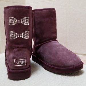 Ugg Australia Burgandy Boots Swarovski Gems size 7